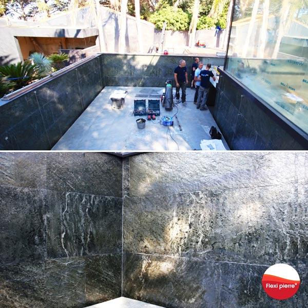 Feuille de pierre en piscine : sur neuf ou ancien, droit ou courbe. Se pose en complexe étanche sur béton ou carrelage.
