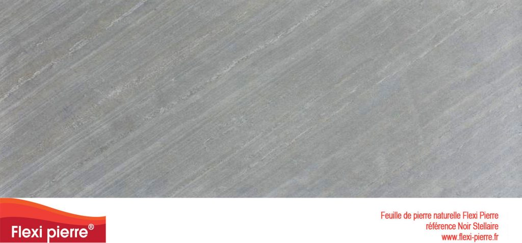 Gamme de feuille de pierre naturelle:  Noire Stellaire noire profonde et striée en oblique