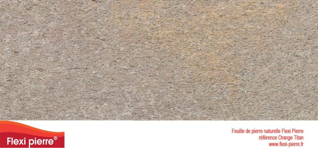 Feuille de pierre naturelle:  Orange Titan, orange moucheté de gris et vert, structurée...
