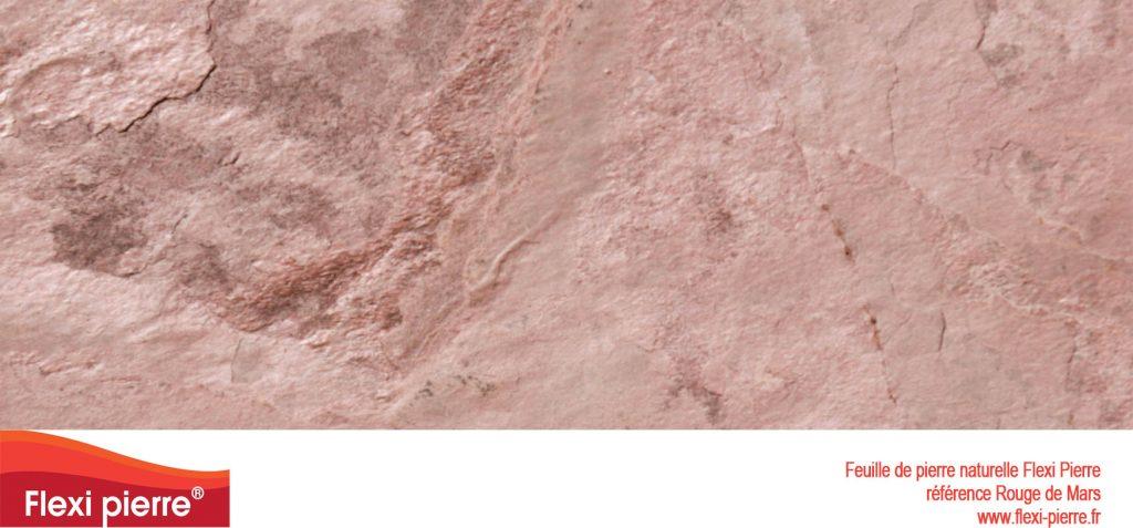 Feuille de pierre naturelle:  Rouge de Mars, rose, douce au touché, lisse avec parfois des écailles...