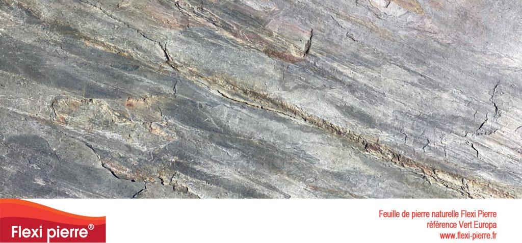 Feuille de pierre naturelle:  Vert Europa, beige gris à reflets verts et une structure veinée et légèrement râpeuse...