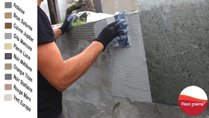 Salle de bain: la solution pour créer ou rénover avec la feuille de pierre Flexi Pierre®. Colle époxy pour environnements humides.