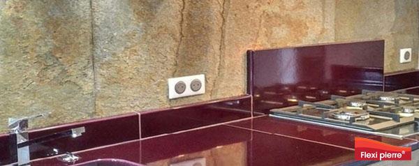 Feuille de pierre en cuisine. Crédence, plan de travail et sols. Flexi Pierre® Grande variété de couleurs et d'applications