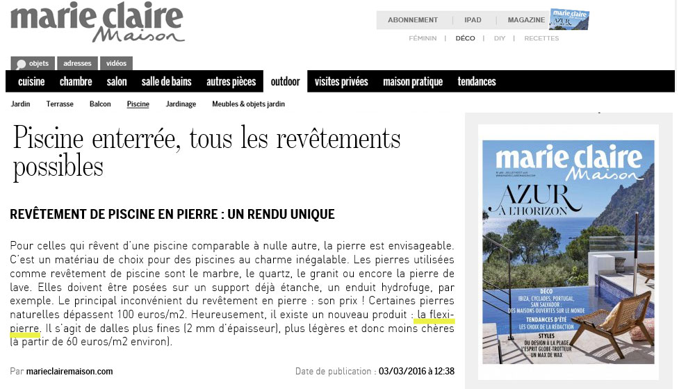 Les médias parlent des feuilles de pierre.  Marie Claire Maison cite la solution Flexi Pierre® comme revêtement de piscine.