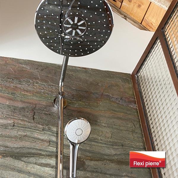 Application: salle de bains avec la feuille de pierre Vert Europa