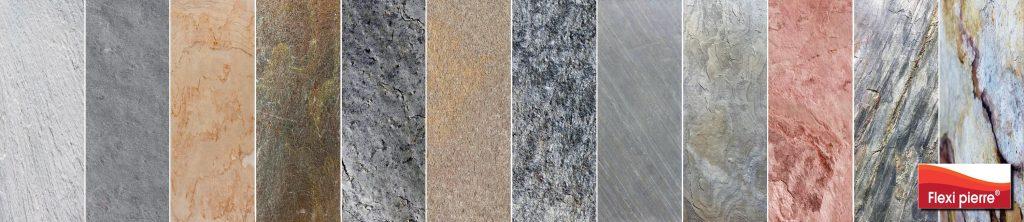 Feuille de pierre Flexi Pierre: couleurs et textures.