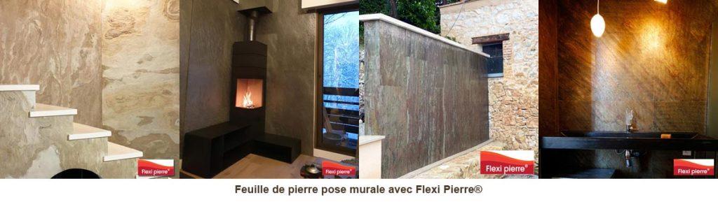 Pose murale de feuille de pierre, en intérieur comme extérieur.