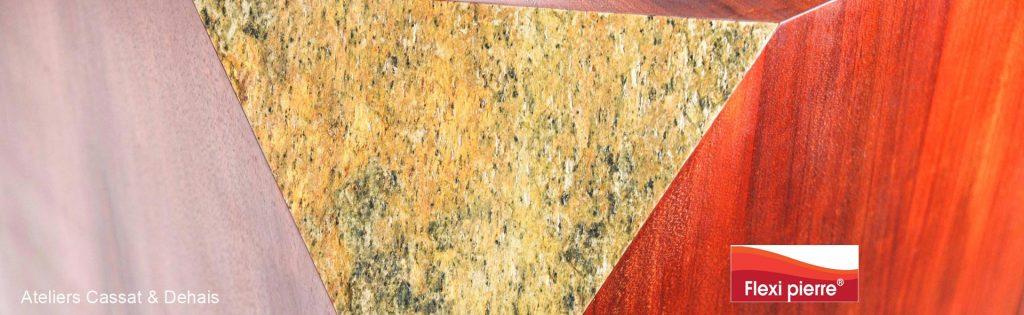 Alliance du bois et de la pierre avec nos feuilles de pierre.