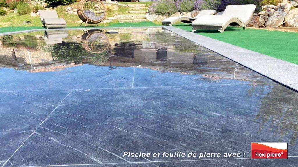 Feuille de pierre en piscine. La nouveauté pour recouvrir vos bassins de piscine en pierre naturelle